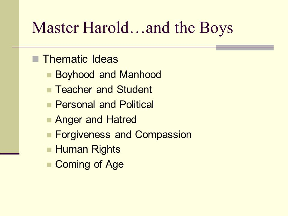 metaphors in master harold and the Master harold and the boys j a // windy city times3/10/2010, vol 25 issue 23, p12  the article reviews the theatrical production master harold and the boys at timeline theatre through march 27, 2010.