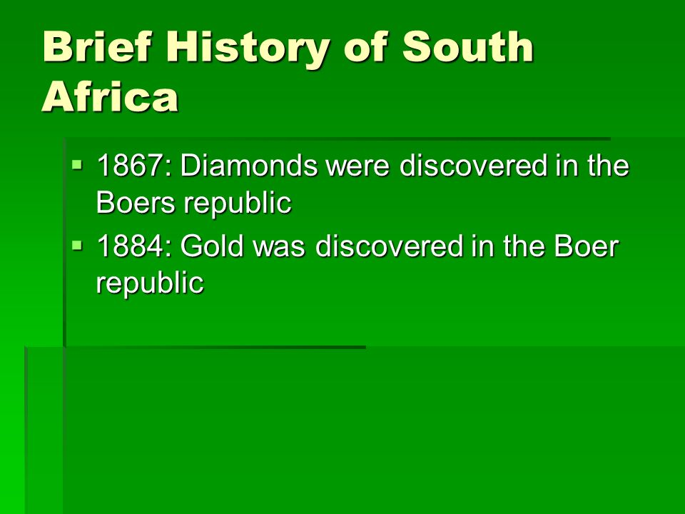 a history of the republic of south africa The official name of south africa is the republic of south africa south africa is located at the southern end of africa in 2011 the population of south africa.