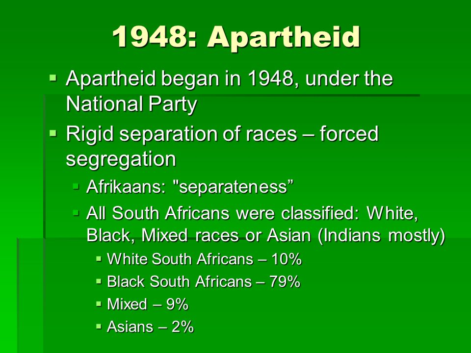 an analysis of the apartheid separateness in afrikaans in south africa South africa -- what was apartheid really south africa zuma sings of murdering whites south africa -- anc destroying economy south africa -- anc harsh realities.