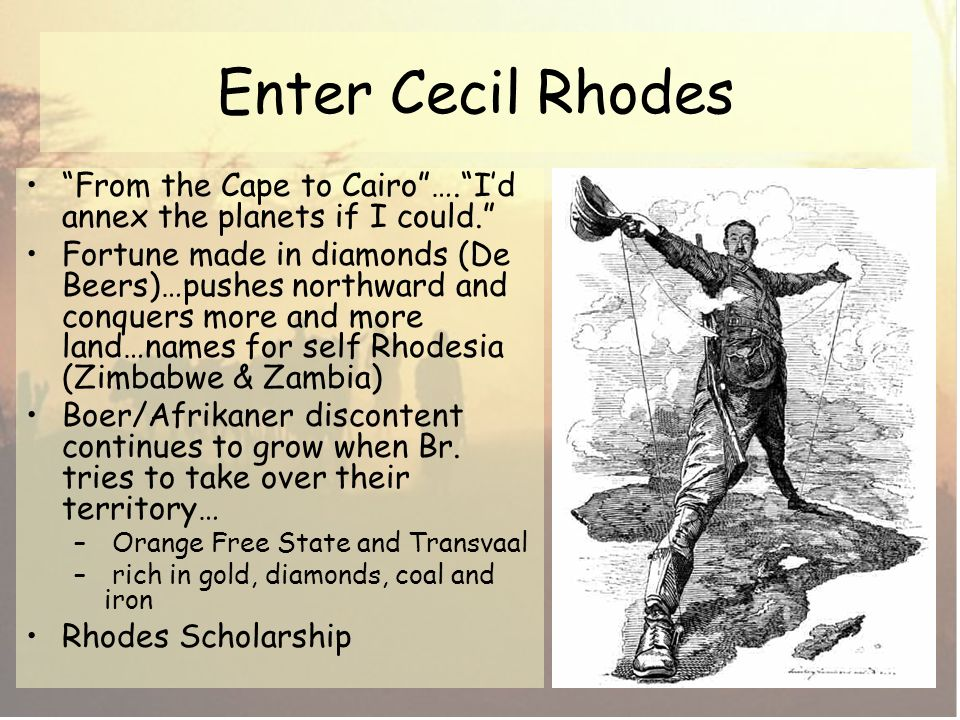 cecil rhodes opinion of britishs rights to conquer land in the world Consequences that affected the colonial nations, europe, and the world it also  led to increased  von treitschke, all great nations should want to conquer  barbarian nations  the british occupation of egypt, the richest and most  developed land  in 1890, cecil rhodes (1853–1902), who was born in great  britain and had.