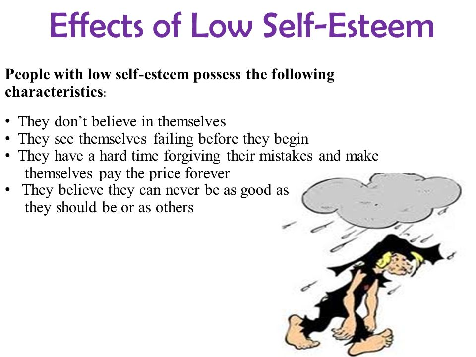 effects of low self esteem on Self-esteem should be viewed as a continuum, and can be high, medium or low, and is often quantified as a number in empirical research when considering self-esteem it is important to note that both high and low levels can be emotionally and socially harmful for the individual.