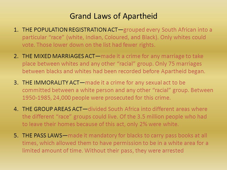 apartheid the law of racial segregation