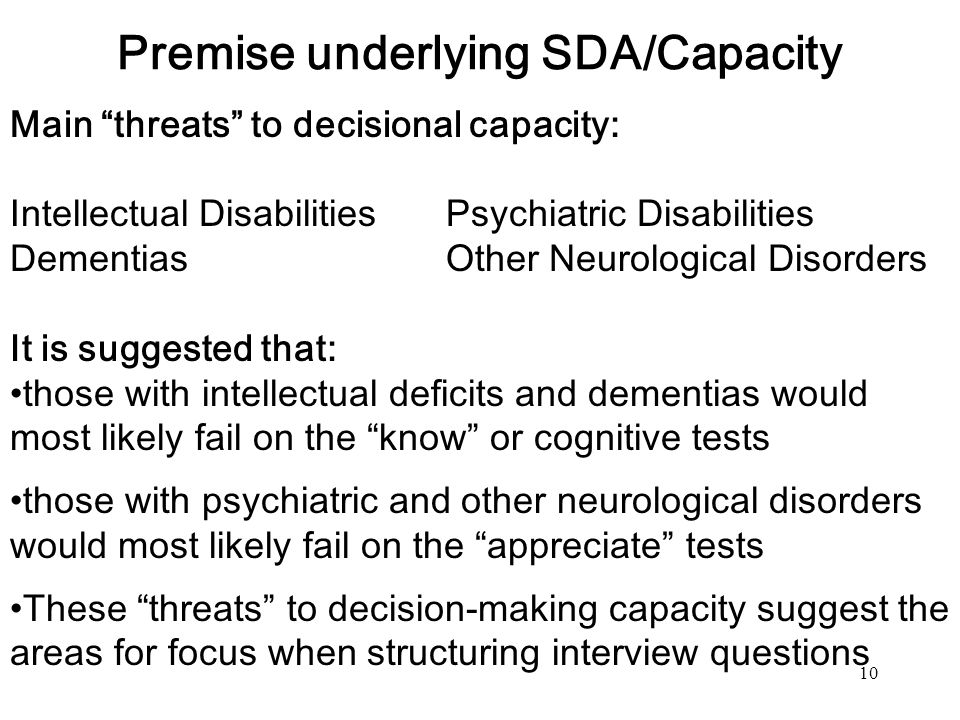 Premise underlying SDA/Capacity