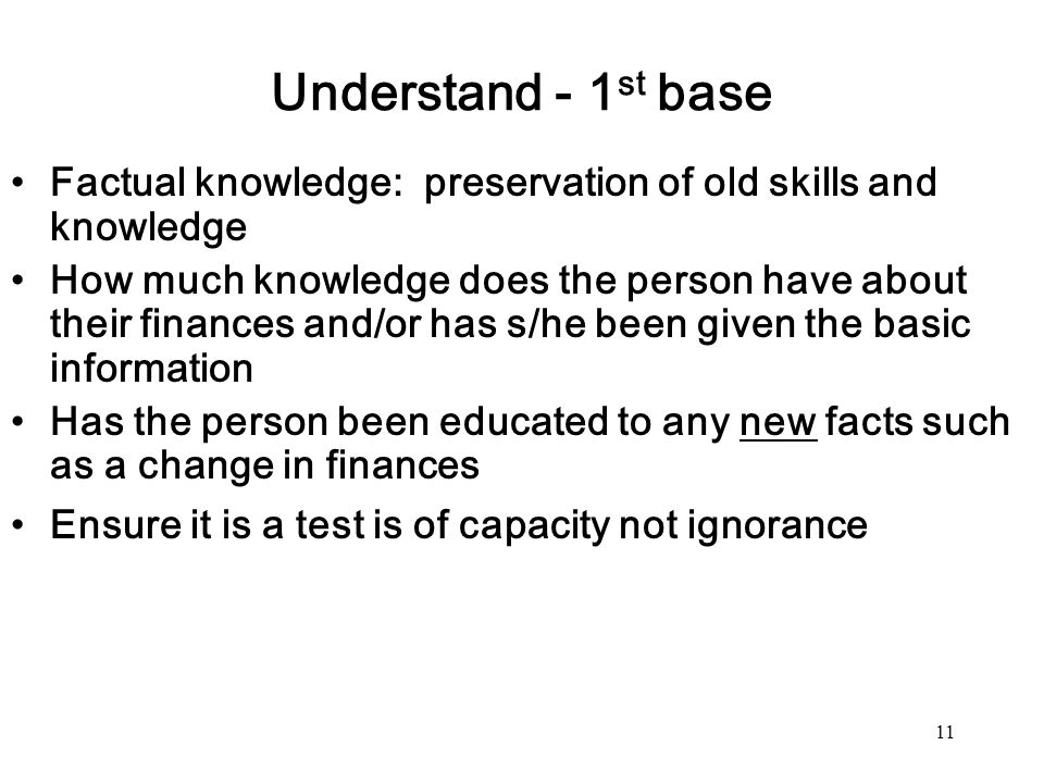 Understand - 1st base Factual knowledge: preservation of old skills and knowledge.