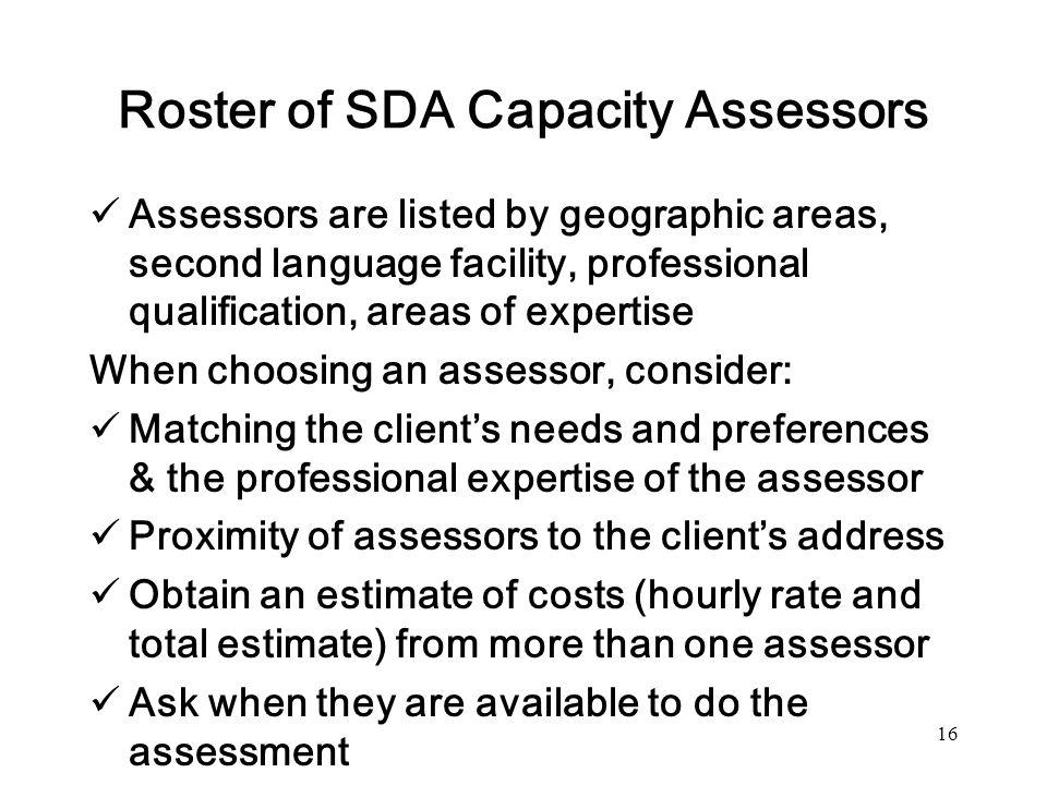 Roster of SDA Capacity Assessors