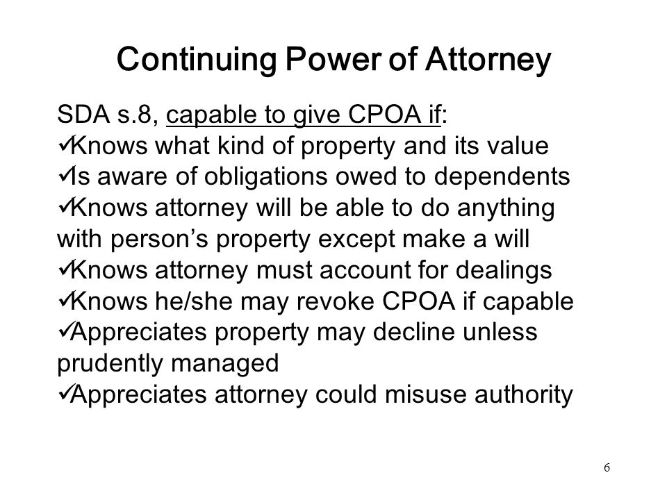 Continuing Power of Attorney