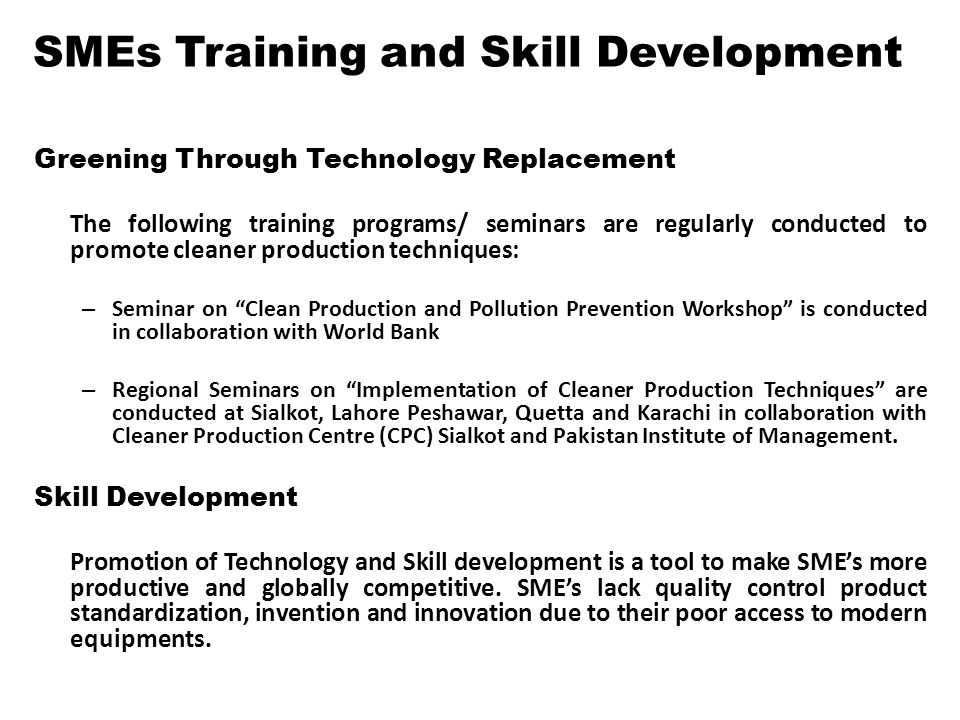 SMEs Training and Skill Development
