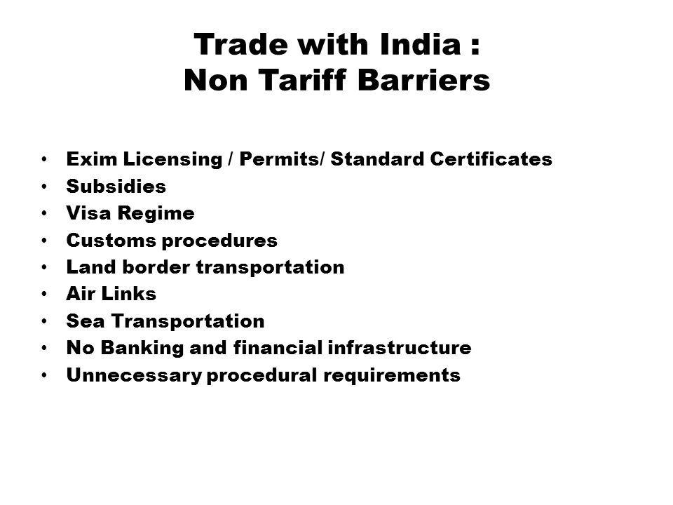 Trade with India : Non Tariff Barriers