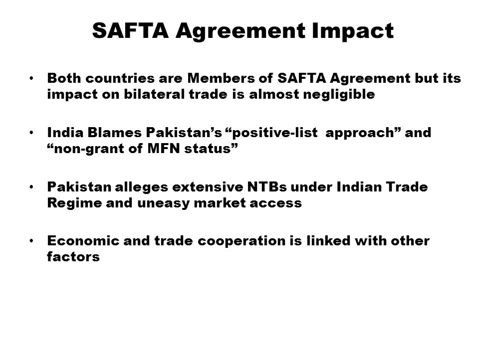 SAFTA Agreement Impact