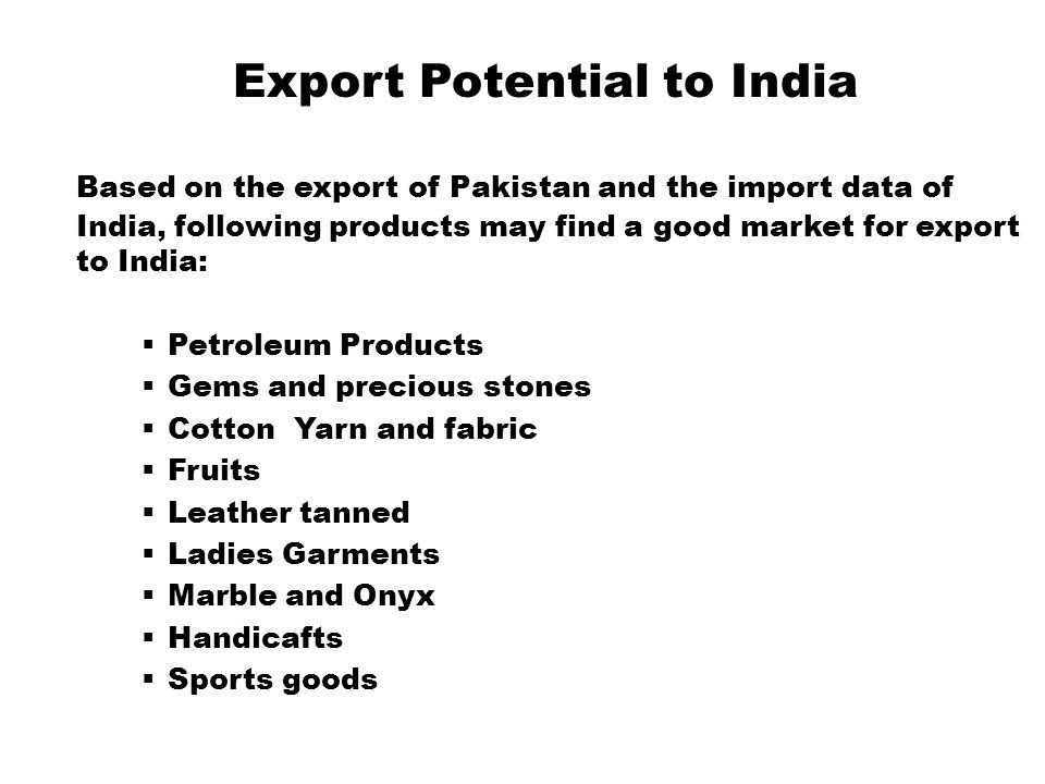 Export Potential to India