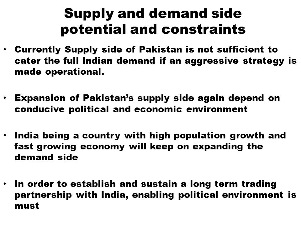 Supply and demand side potential and constraints