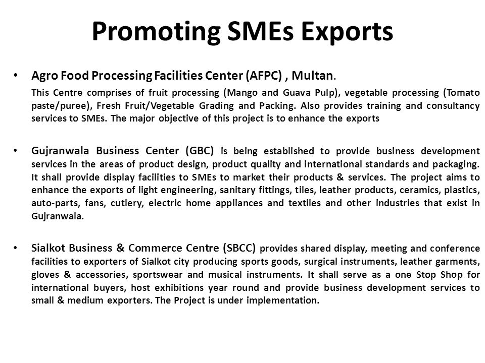 Promoting SMEs Exports