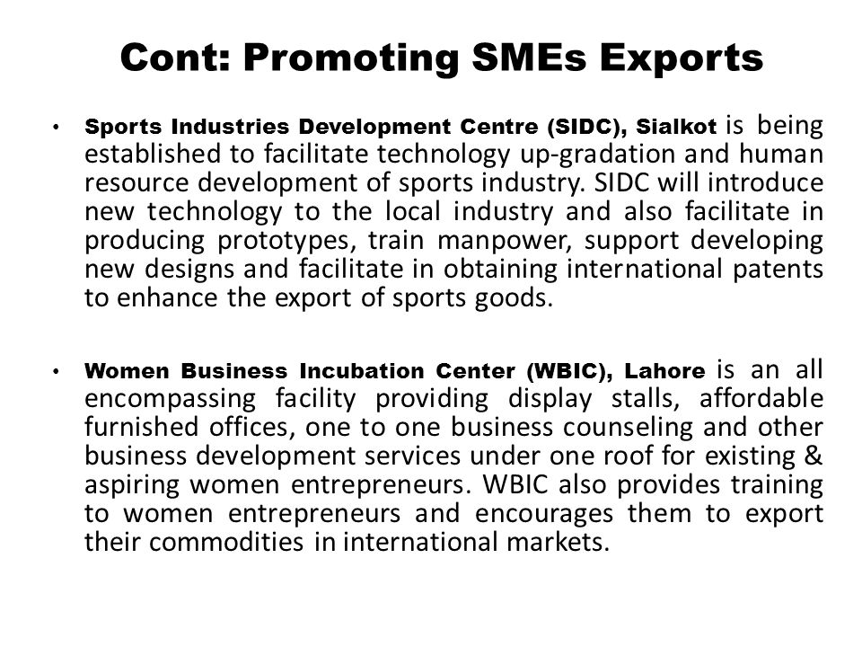 Cont: Promoting SMEs Exports