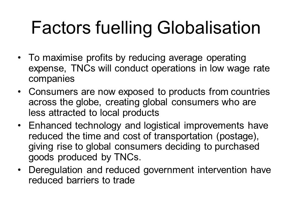 factors that have enabled globalization The factors which have enabled globalisation in india are (i) during the past ,50 years, several improvements in technology have taken place for example, in.