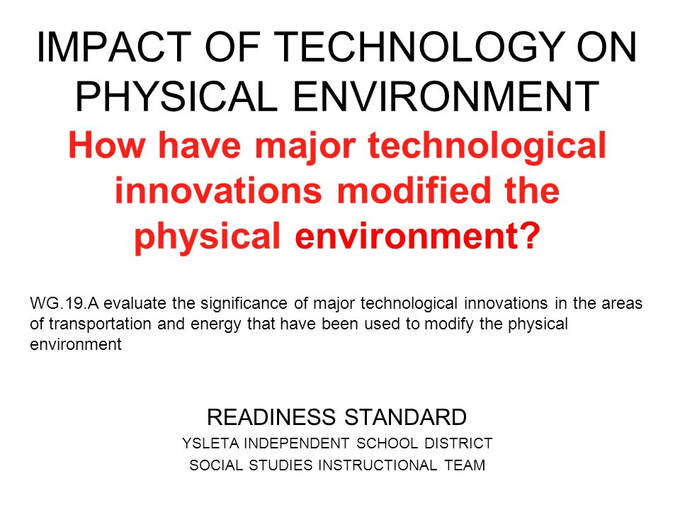 impact of the technology innovation Technology can have positive and negative impact on social interactions this is an excerpt from dimensions of leisure for life by human kinetics.