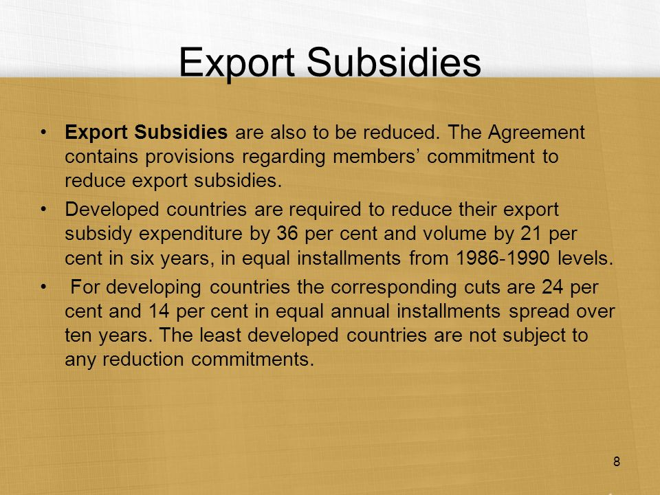 export subsidies The united states has requested a dispute settlement consultation at the world trade organization challenging indian export subsidies, the office of the us trade representative announced on wednesday.