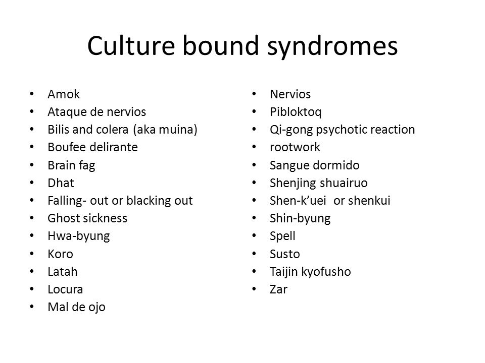 cultural bound syndrome Glossary of culture-bound syndromes: this glossary lists most of the culture-bound syndromes found in the literature, although it is by no means exhaustive.