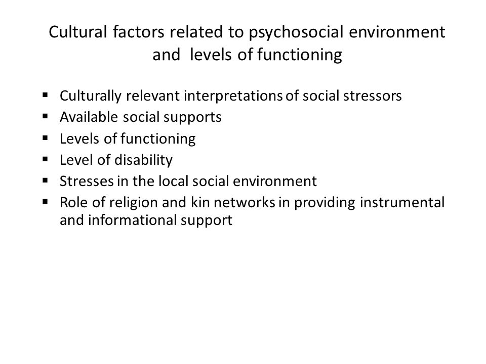 13 social and cultural factors related