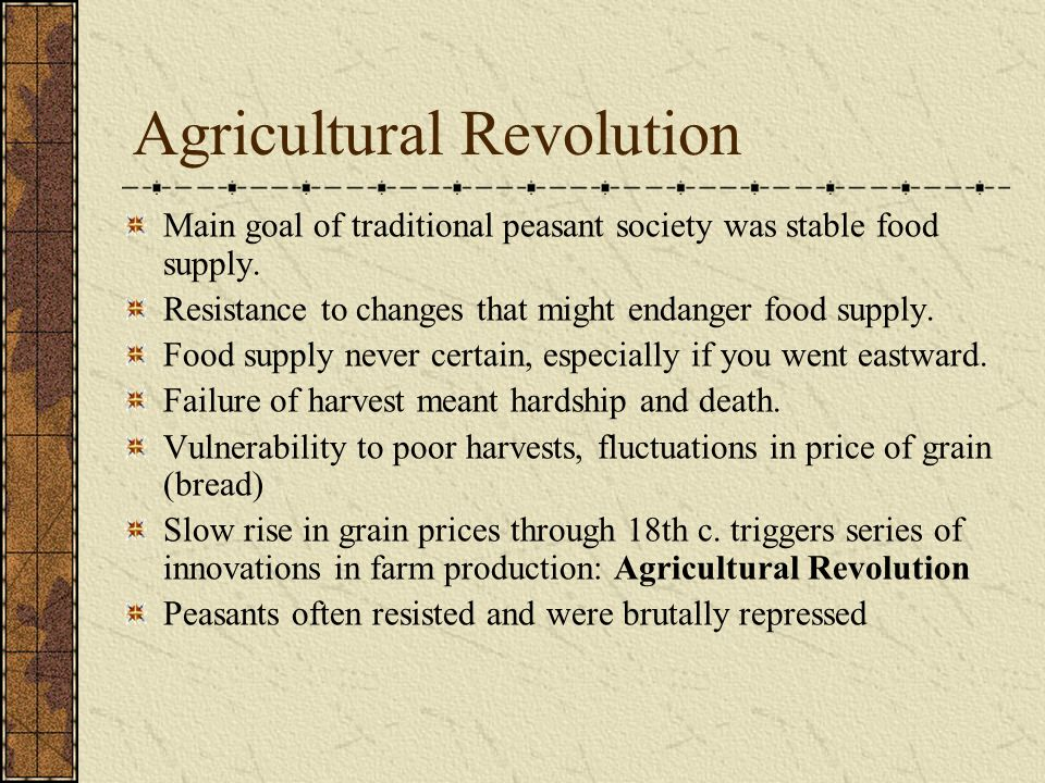 agricultural revolution in 18th century 2017-5-3  in the early 18th century, the agricultural revolution in great britain resulted in urbanization because (1) enslaved persons replaced free laborers on farms.