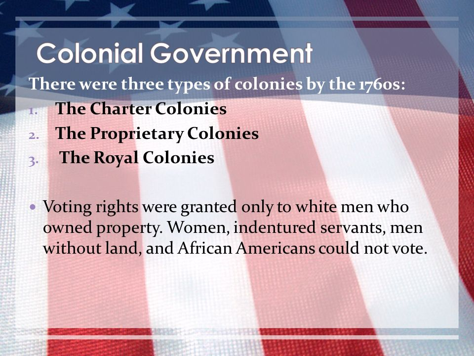 Colonial Government There were three types of colonies by the 1760s: