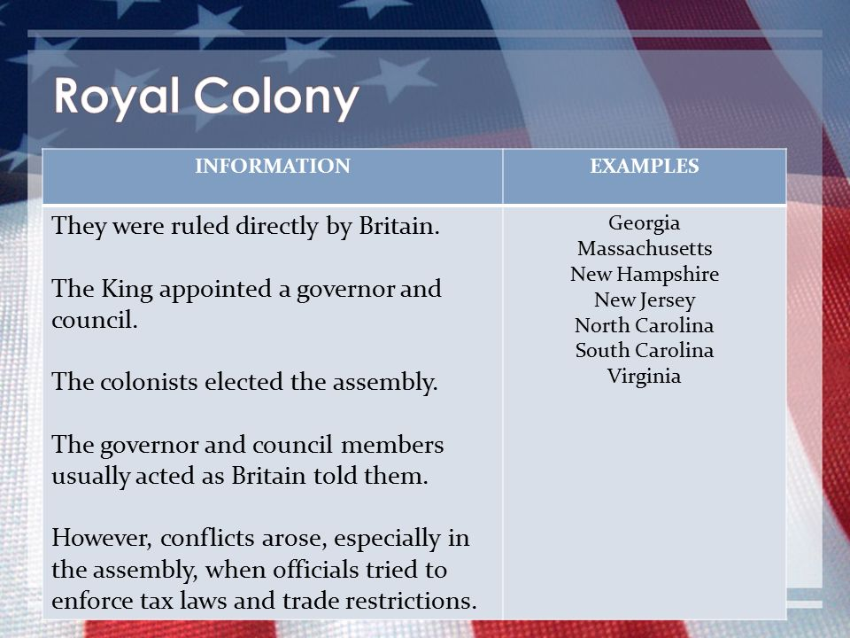 Royal Colony They were ruled directly by Britain.