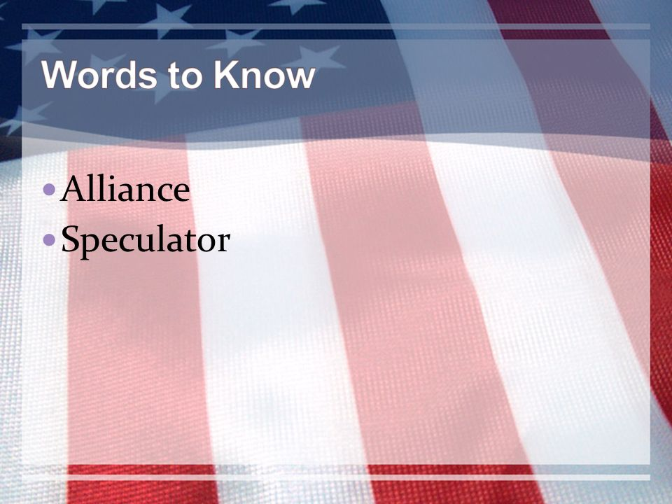 Words to Know Alliance Speculator