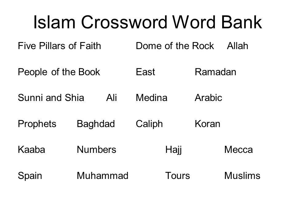 Islam Crossword Word Bank