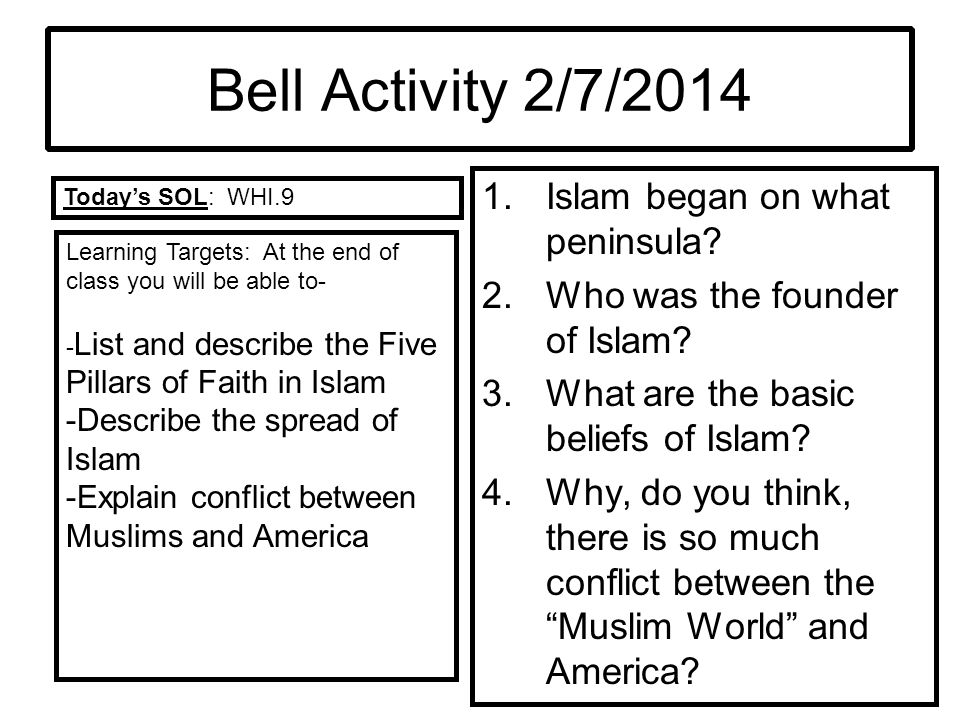 Bell Activity 2/7/2014 Islam began on what peninsula
