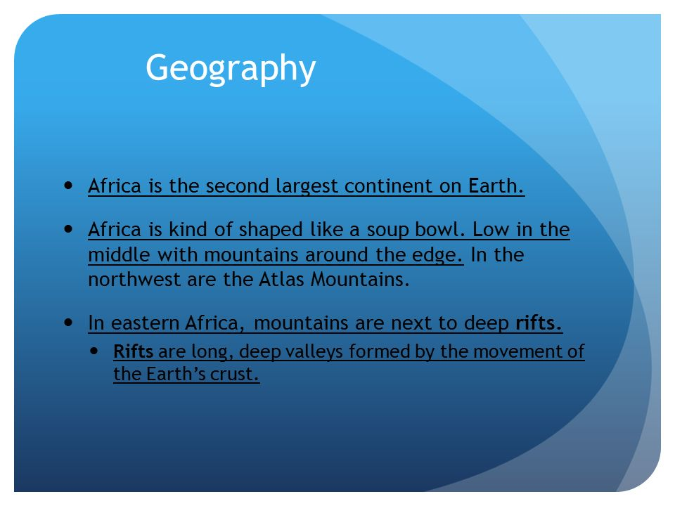 africa is a second largest continent Africa is the second-largest continent, a landmass second from asia it also is the  second most populated continent, with 900 million people in fact - coming back.