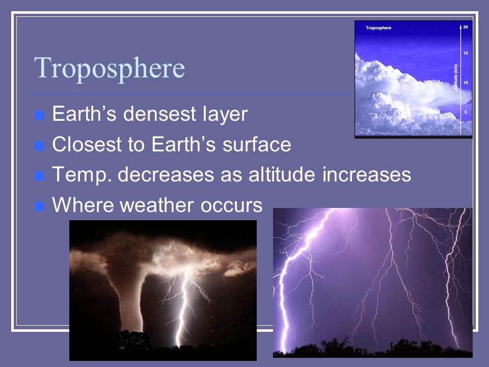 Troposphere Earth's densest layer Closest to Earth's surface