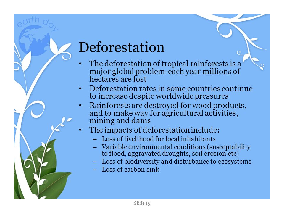 the worldwide problem of deforestation Since pre-agricultural times, the world has lost 20% of its forest resources, with a reduction from 12 billion to 10 billion acres in the past, most of forest losses were in the temperate forests of europe, asia and north america.