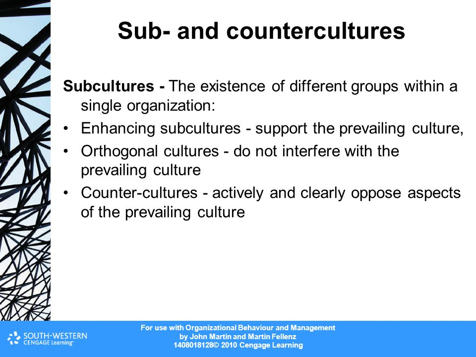 the role of subculture and countercultures Countercultures are a kind of subculture that deliberately opposes certain  the role of women as full-time homemakers in industrial society was challenged.