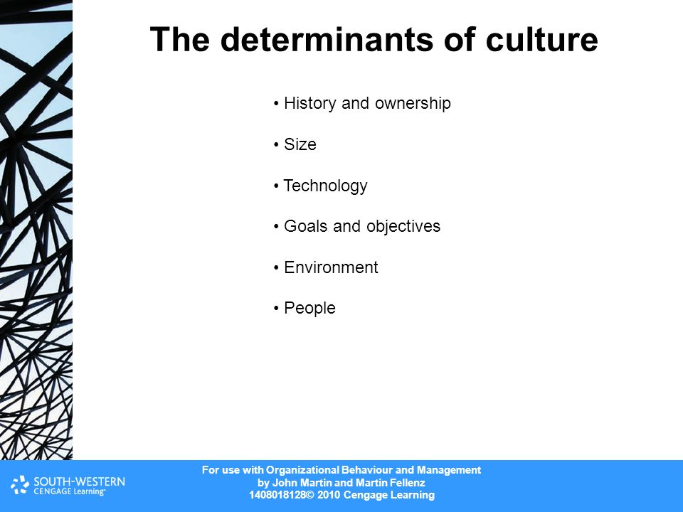 determinants of organization culture The literature review summarises five key factors that affect organisational creativity, namely organisational climate, leadership style, organisational culture, resources and skills and the structure and systems of an organisation.