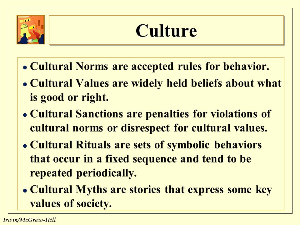 culture illustrates the accepted norms The social norms in the united states are currently, depending on your point of view either under attack or evolving the us known as the melting pot of the world is a combination of many cultures but predominantly began with the english culture in many cultures it is not the minority that .