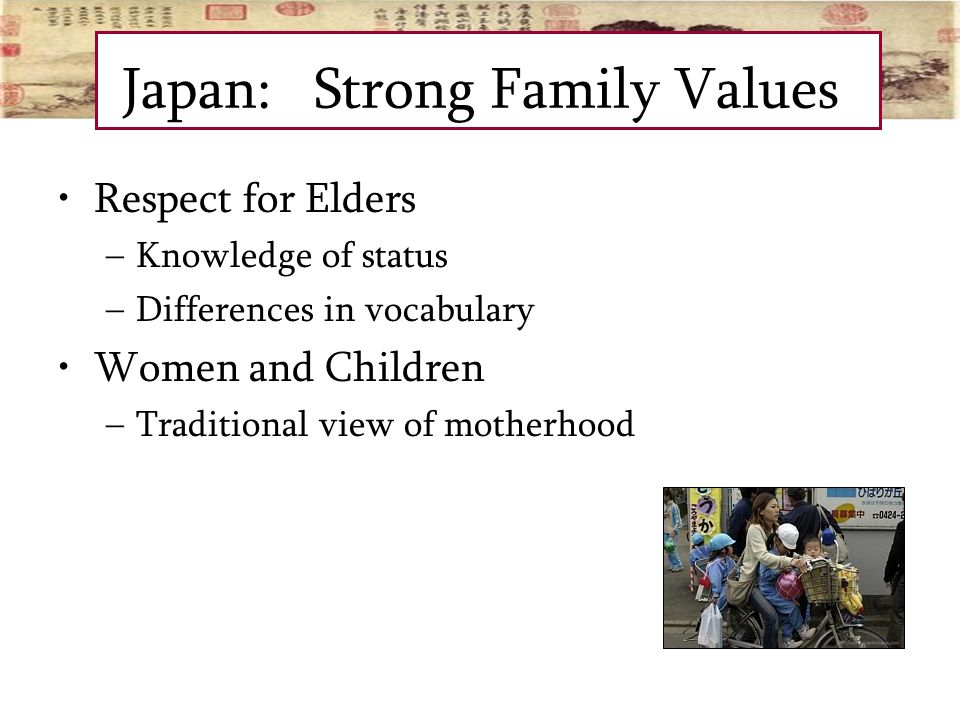 a discussion on family traditions marriage customs and education in japan Conversation questions culture what are the five most important values of your culture (for example, family) what in your culture are you most proud about what customs (from elsewhere) do you think should be included in our culture.