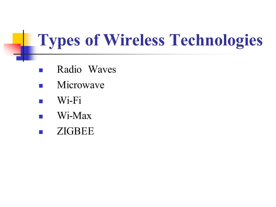 types of services in wireless communication