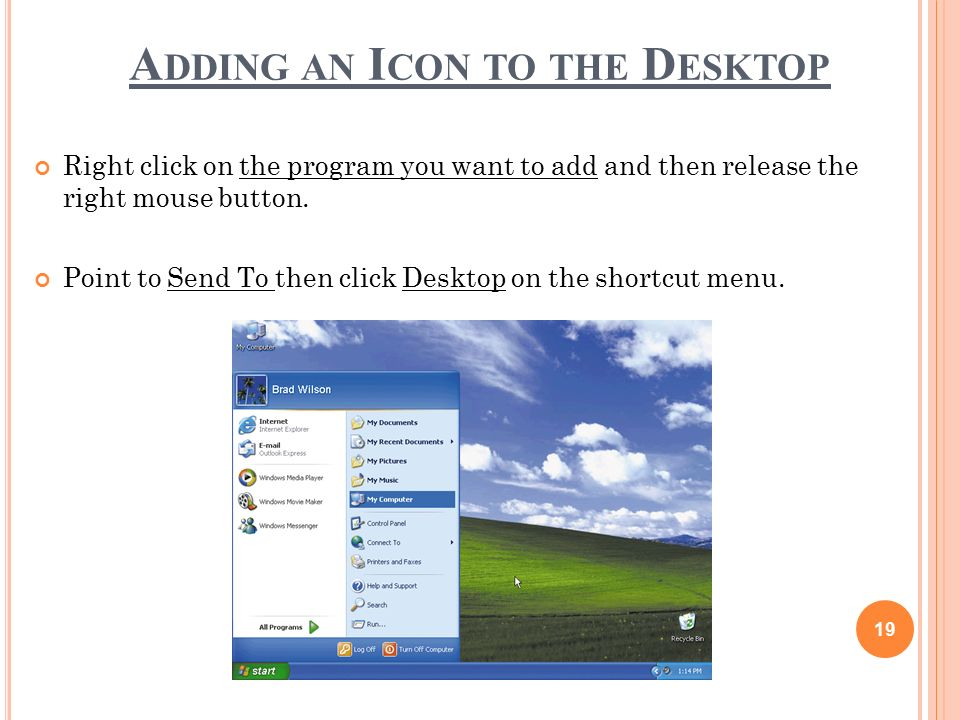 how to add an icon to my desktop