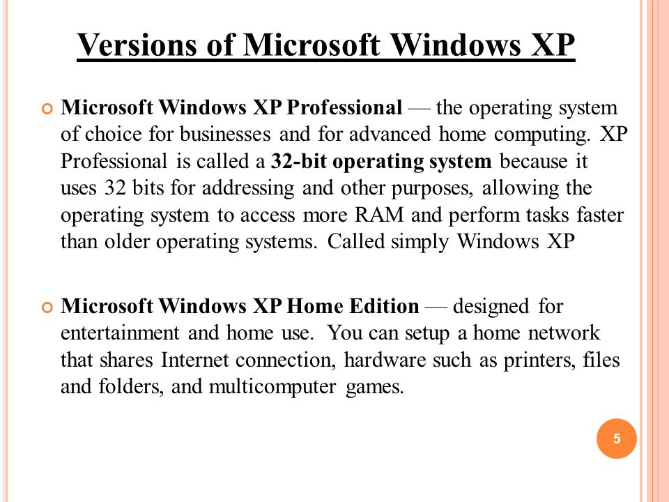 an introduction to the windows xp operating system Windows xp is an operating system introduced in 2001 from microsoft's windows family of operating systems, the previous version of windows being windows me the xp in windows xp stands for e xp erience.