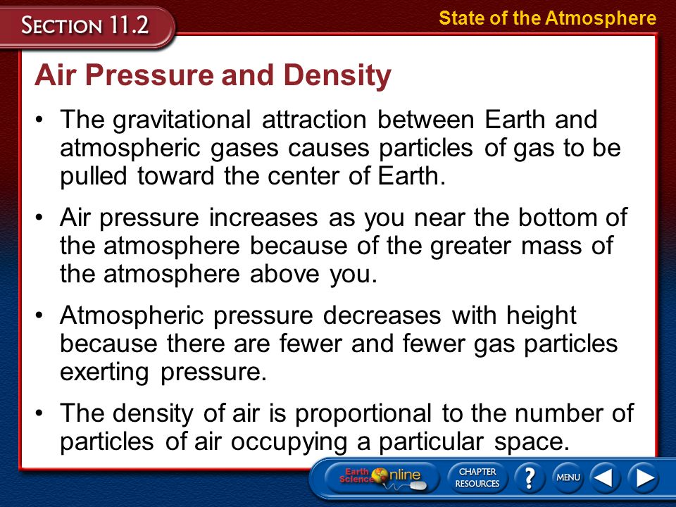 describe the relationship between air pressure and density