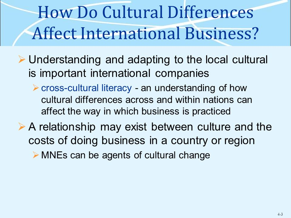 cultural differences in international business Business owners should consider how cultural differences impact communication  style when communicating with foreign business partners, it's important to.