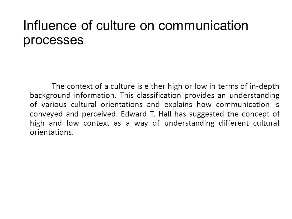 influence of culture versus communication We are constantly communicating, in a wide range of different contexts, such as   affected by and has an impact on a number of different aspects of that culture.