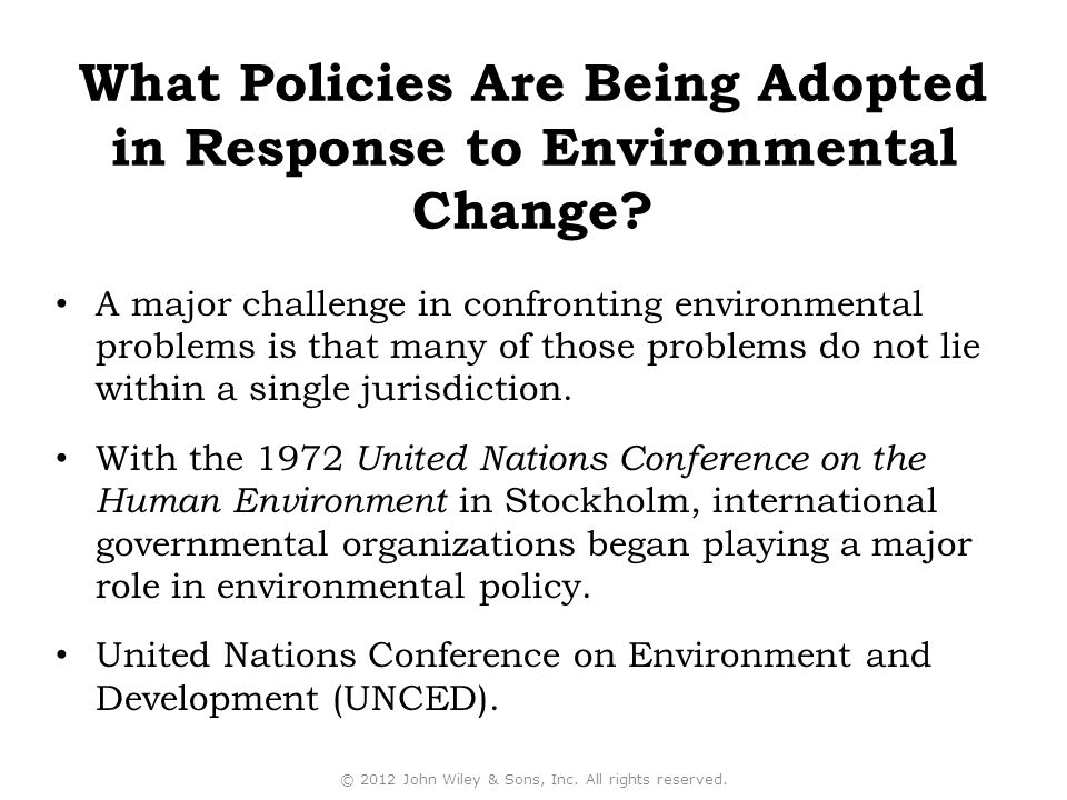 What Policies Are Being Adopted in Response to Environmental Change