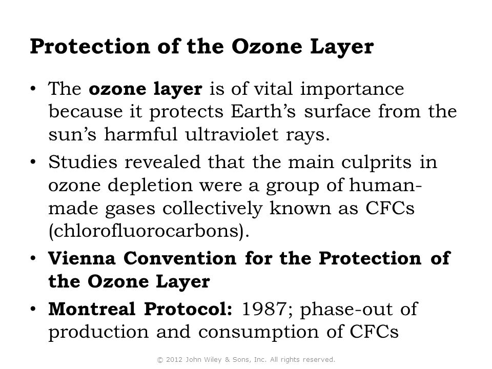 Protection of the Ozone Layer