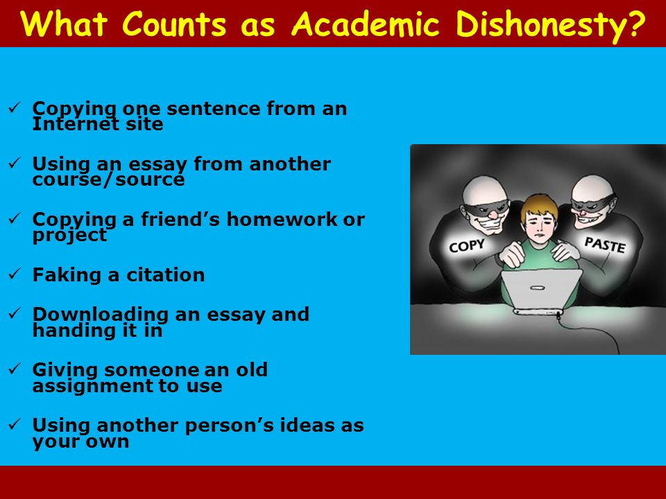 academic dishonesty 6 essay What is academic dishonesty definitions of academic dishonesty (uc berkeley) student conduct, discipline, and due process rights the.