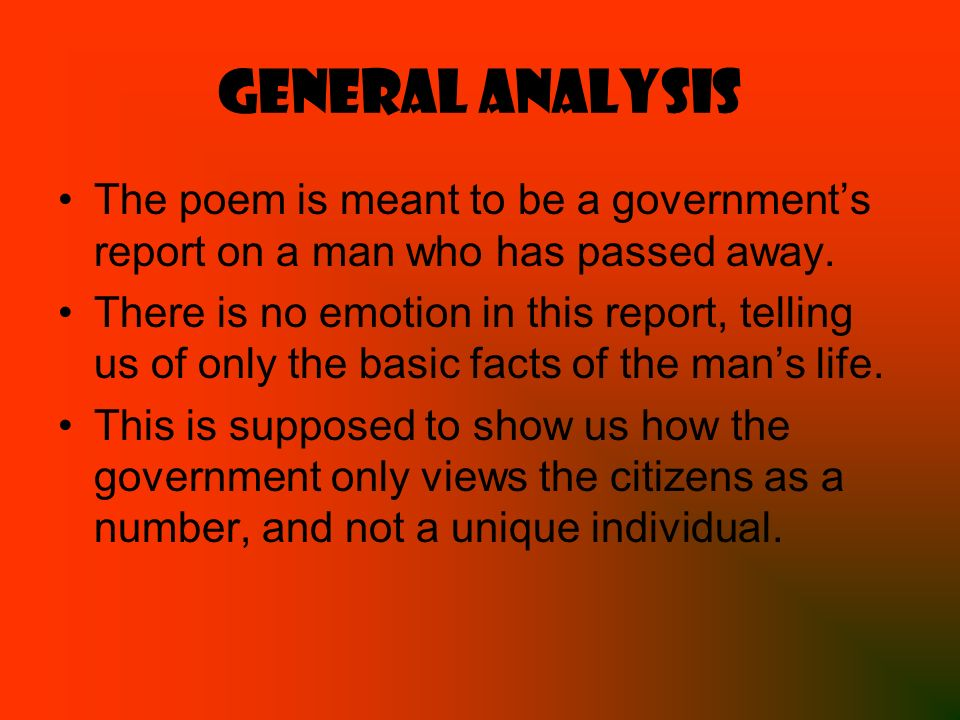 poem analysis the unknown citizen Poetry is open to how a person reads it and, thus, can be confusing the period that poems are written can also make it hard to read a poem written.