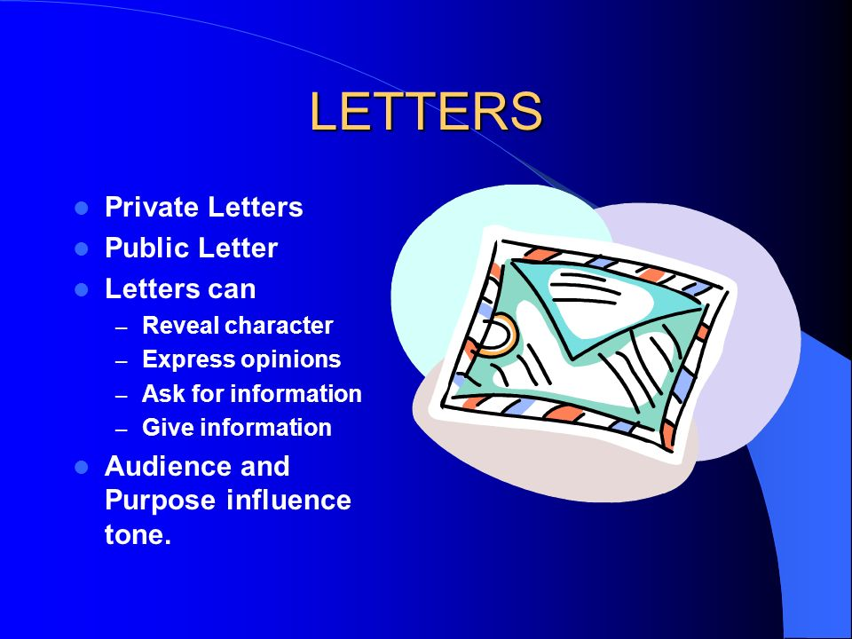 LETTERS Private Letters Public Letter Letters can