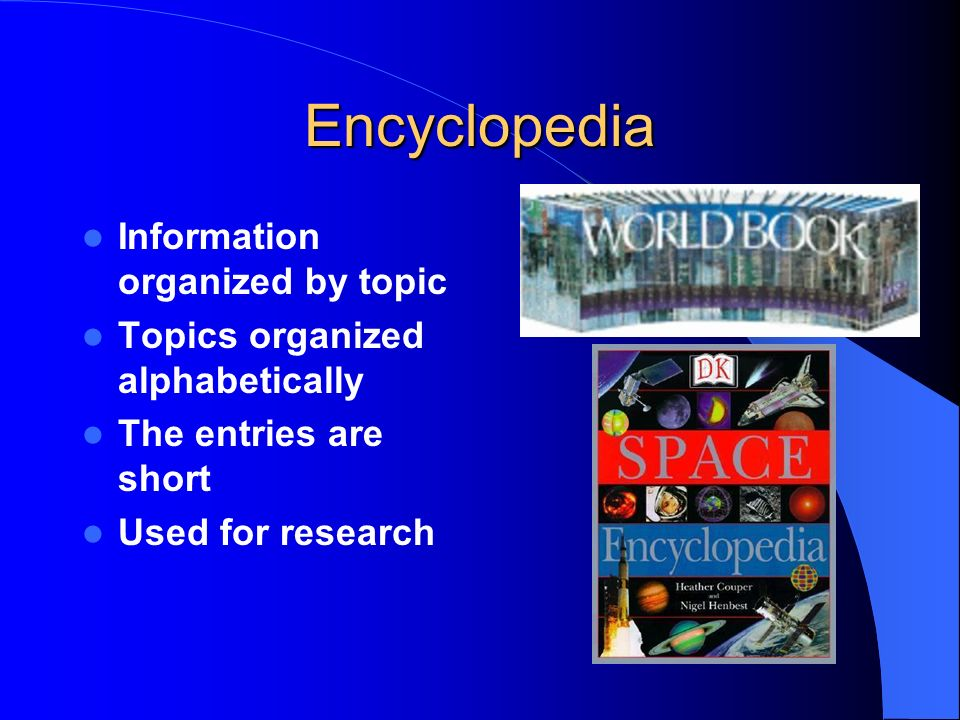 Encyclopedia Information organized by topic
