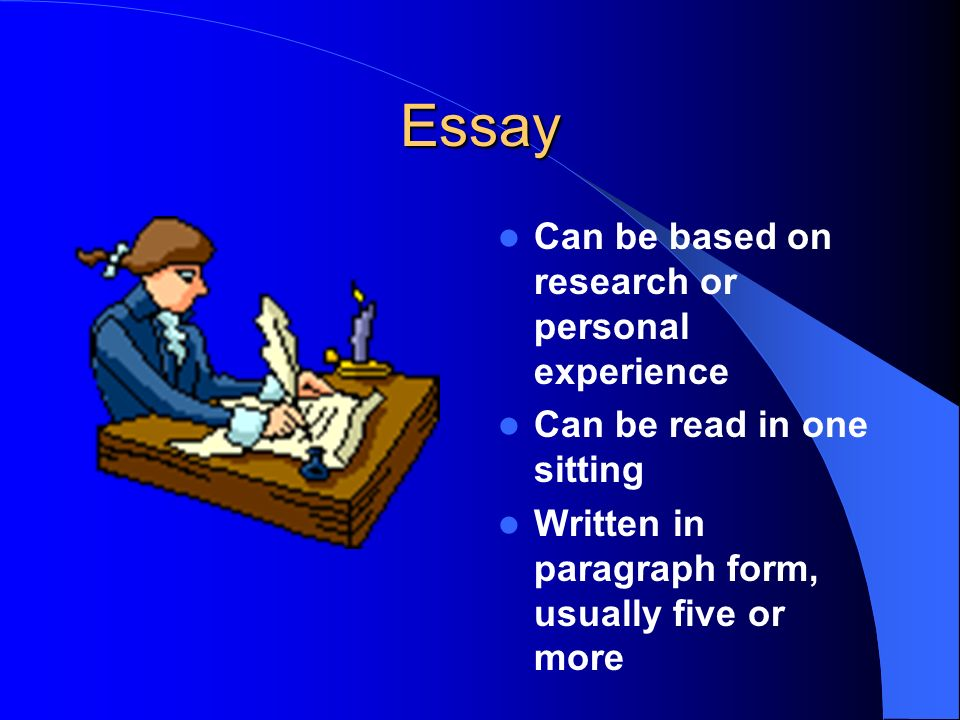 Essay Can be based on research or personal experience