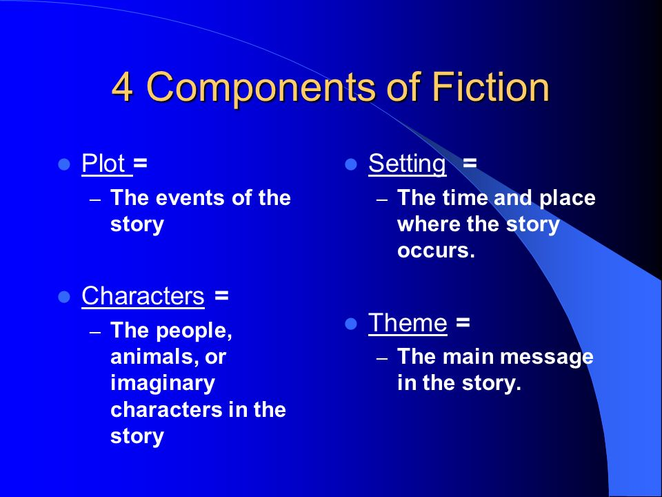 4 Components of Fiction Plot = Characters = Setting = Theme =