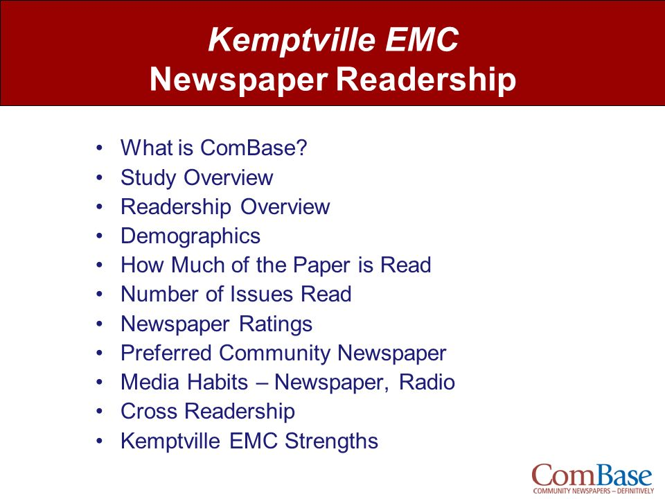 Kemptville EMC Newspaper Readership